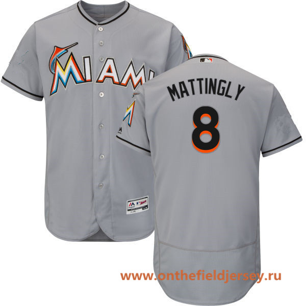 Men's Miami Marlins #8 Don Mattingly Gray Road Stitched MLB Majestic Flex Base Jersey