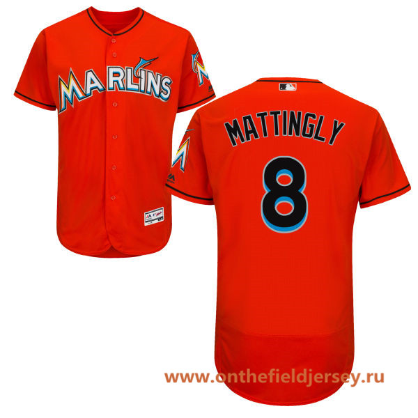 Men's Miami Marlins #8 Don Mattingly Orange Alternate Stitched MLB Majestic Flex Base Jersey