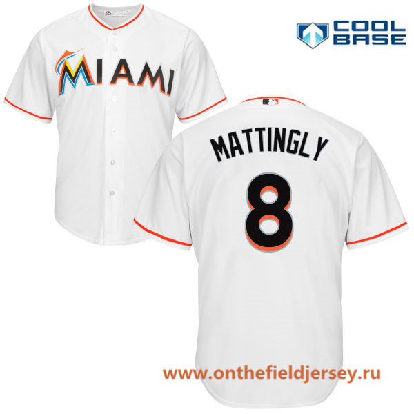 Men's Miami Marlins #8 Don Mattingly White Home Stitched MLB Majestic Cool Base Jersey