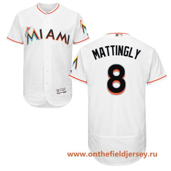 Men's Miami Marlins #8 Don Mattingly White Home Stitched MLB Majestic Flex Base Jersey