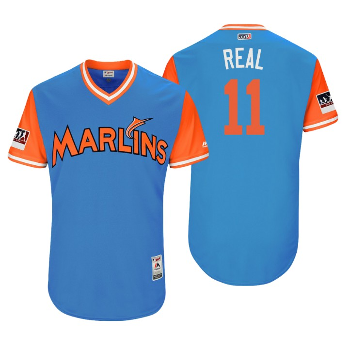 Men's Miami Marlins Authentic J.T. Realmuto #11 Light Blue 2018 LLWS Players Weekend Real Jersey