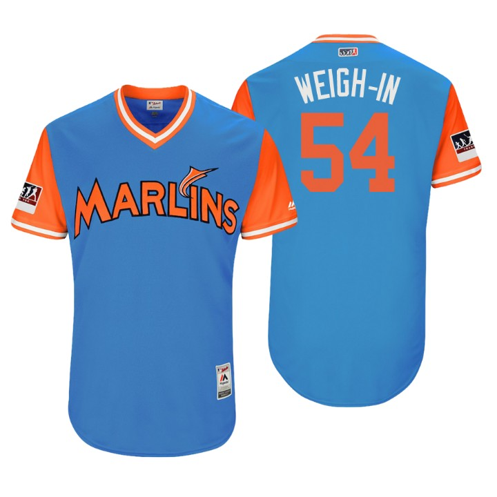 Men's Miami Marlins Authentic Wei-Yin Chen #54 Light Blue 2018 LLWS Players Weekend Weigh-In Jersey