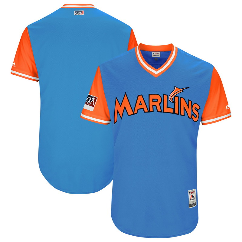 Men's Miami Marlins Majestic Light Blue-Orange 2018 Players' Weekend Authentic Team Jersey