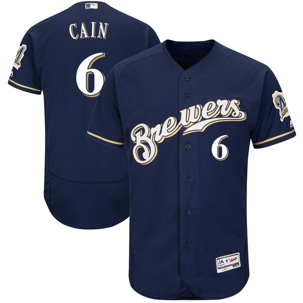 Men's Milwaukee Brewers #6 Lorenzo Cain Majestic Navy Authentic Collection Flex Base Player Jersey