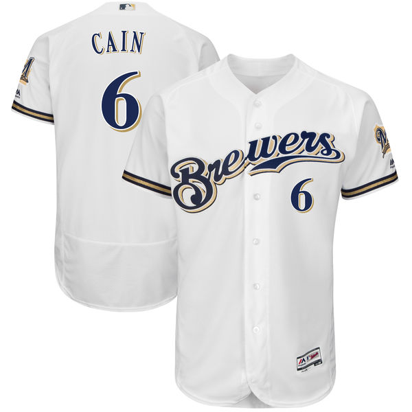 Men's Milwaukee Brewers #6 Lorenzo Cain Majestic White Authentic Collection Flex Base Player Jersey