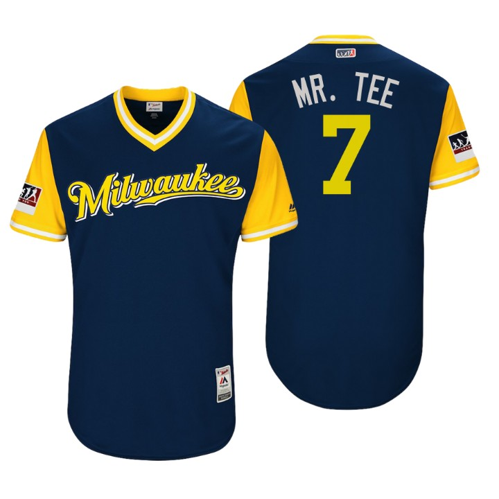 Men's Milwaukee Brewers Authentic Eric Thames #7 Navy 2018 LLWS Players Weekend Mr. Tee Jersey