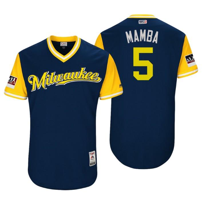 Men's Milwaukee Brewers Authentic Jonathan Schoop #5 Navy 2018 LLWS Players Weekend Mamba Jersey