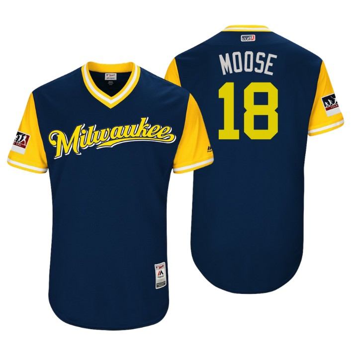 Men's Milwaukee Brewers Authentic Mike Moustakas #18 Navy 2018 LLWS Players Weekend Moose Jersey