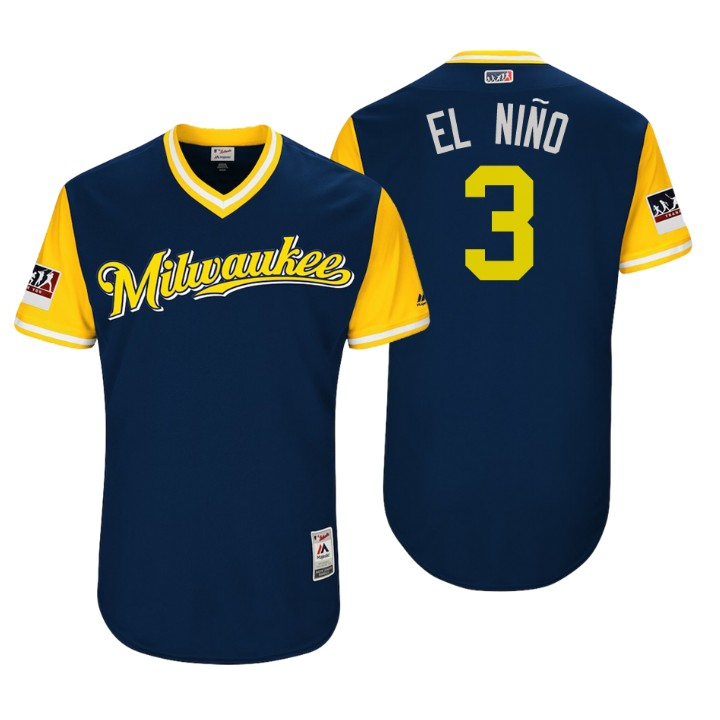 Men's Milwaukee Brewers Authentic Orlando Arcia #3 Navy 2018 LLWS Players Weekend El Nino Jersey
