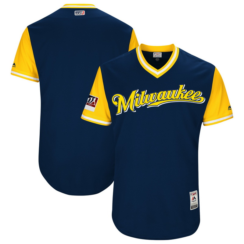Men's Milwaukee Brewers Majestic Navy-Yellow 2018 Players' Weekend Authentic Team Jersey