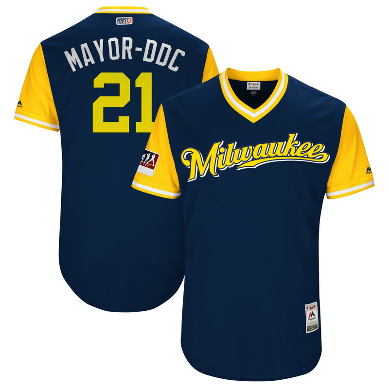 Men's Milwaukee Brewers Travis Shaw Mayor-DDC Majestic Navy-Yellow 2018 Players' Weekend Authentic Jersey