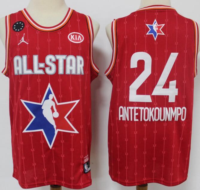 Men's Milwaukee Bucks #24 Giannis Antetokounmpo Red Jordan Brand 2020 All-Star Game Swingman Stitched NBA Jersey