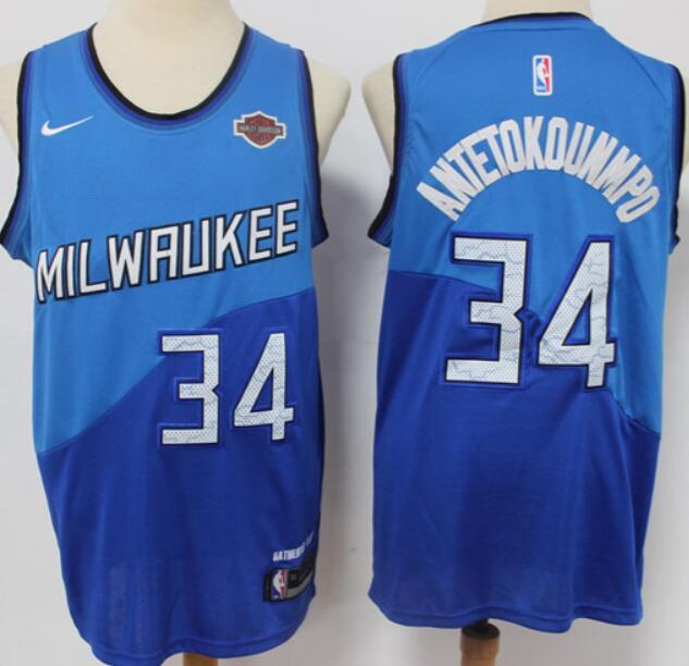 Men's Milwaukee Bucks #34 Giannis Antetokounmpo Blue Nike 2021 City Edition Swingman Stitched NBA Jersey