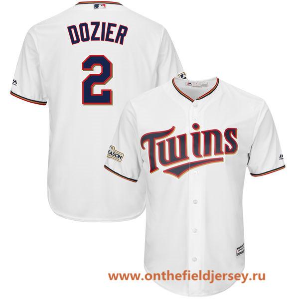 Men's Minnesota Twins Brian Dozier Majestic White 2017 Postseason Patch Cool Base Player Jersey