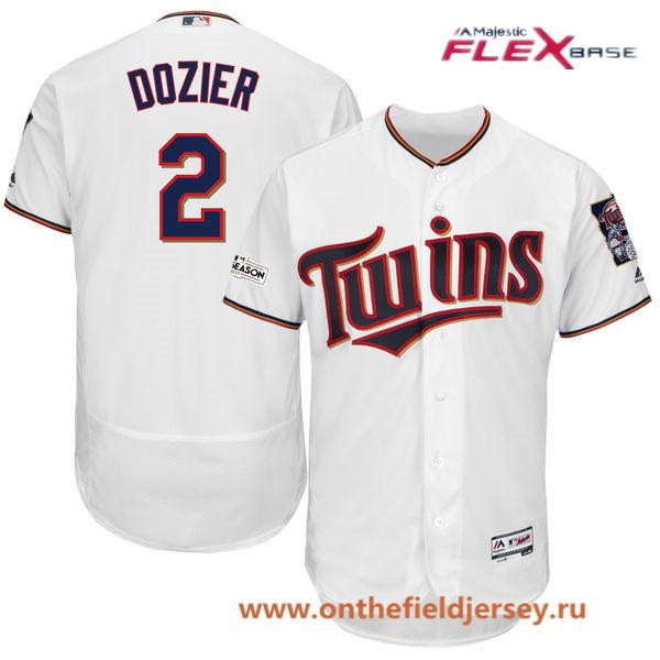 Men's Minnesota Twins Brian Dozier Majestic White 2017 Postseason Patch Patch Flex Base Player Jersey