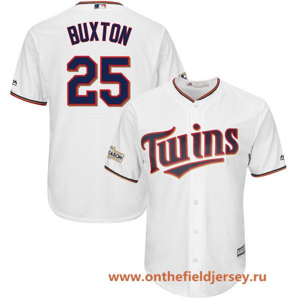 Men's Minnesota Twins Byron Buxton Majestic White 2017 Postseason Patch Cool Base Player Jersey