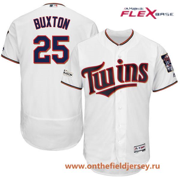 Men's Minnesota Twins Byron Buxton Majestic White 2017 Postseason Patch Patch Flex Base Player Jersey