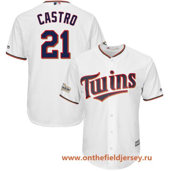 Men's Minnesota Twins Jason Castro Majestic White 2017 Postseason Patch Cool Base Player Jersey