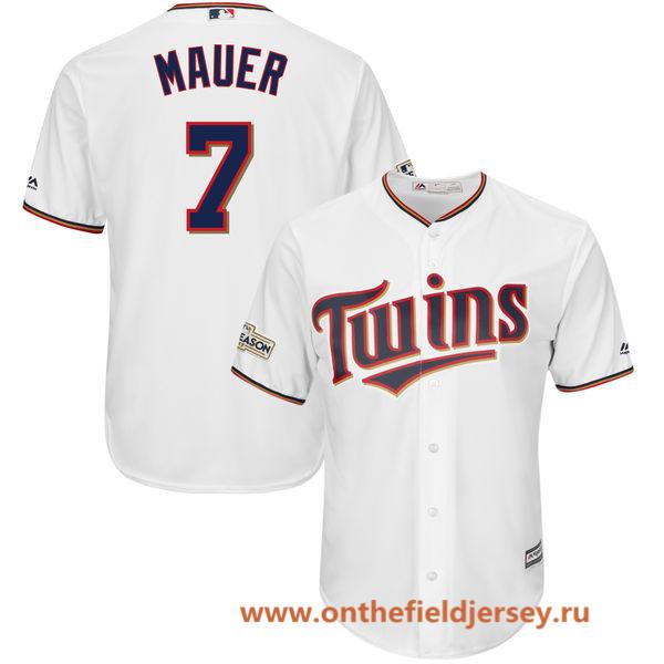 Men's Minnesota Twins Joe Mauer Majestic White 2017 Postseason Patch Cool Base Player Jersey