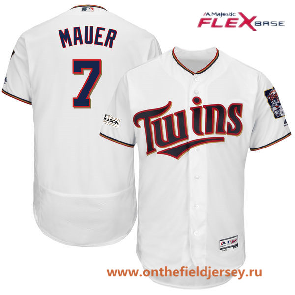 Men's Minnesota Twins Joe Mauer Majestic White 2017 Postseason Patch Patch Flex Base Player Jersey