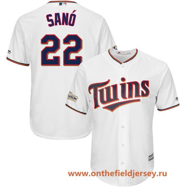 Men's Minnesota Twins Miguel Sano Majestic White 2017 Postseason Patch Cool Base Player Jersey
