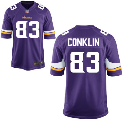 Men's Minnesota Vikings #83 Tyler Conklin Purple Color Stitched NFL Nike Game Jersey