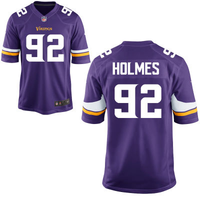 Men's Minnesota Vikings #92 Jalyn Holmes Purple Color Stitched NFL Nike Game Jersey