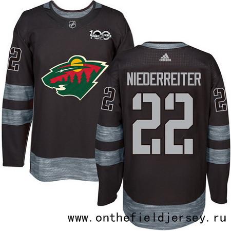 Men's Minnesota Wild #22 Nino Niederreiter Black 100th Anniversary Stitched NHL 2017 adidas Hockey Jersey