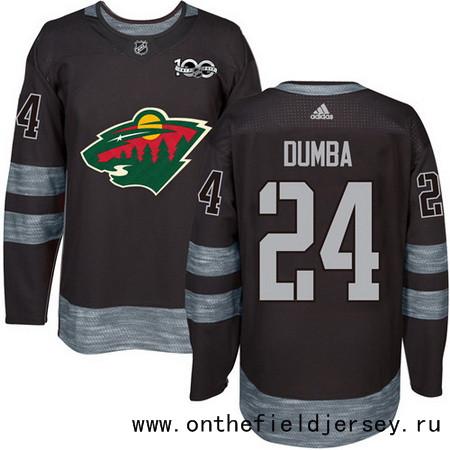 Men's Minnesota Wild #24 Matt Dumba Black 100th Anniversary Stitched NHL 2017 adidas Hockey Jersey