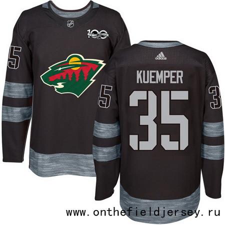 Men's Minnesota Wild #35 Darcy Kuemper Black 100th Anniversary Stitched NHL 2017 adidas Hockey Jersey