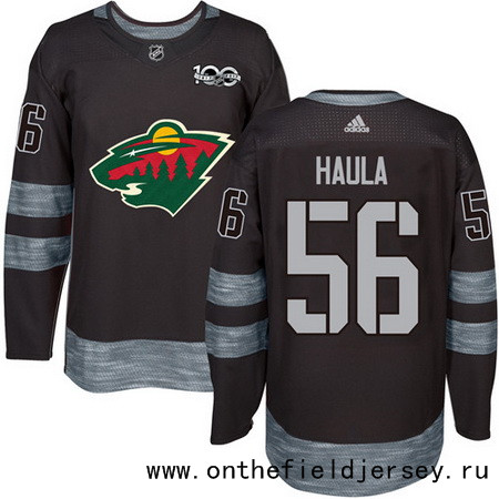 Men's Minnesota Wild #56 Erik Haula Black 100th Anniversary Stitched NHL 2017 adidas Hockey Jersey