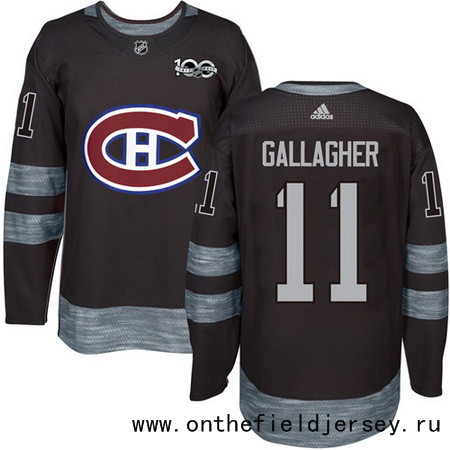 Men's Montreal Canadiens #11 Brendan Gallagher Black 100th Anniversary Stitched NHL 2017 adidas Hockey Jersey