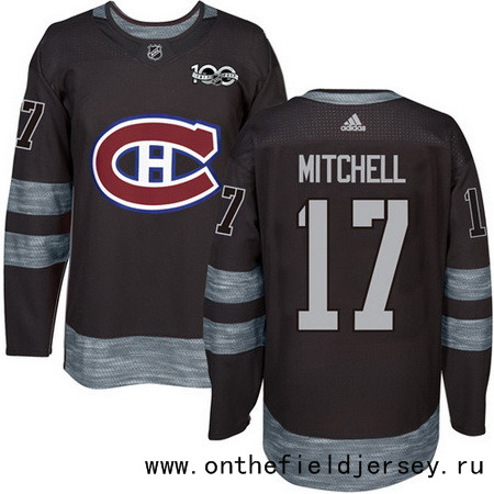 Men's Montreal Canadiens #17 Torrey Mitchell Black 100th Anniversary Stitched NHL 2017 adidas Hockey Jersey