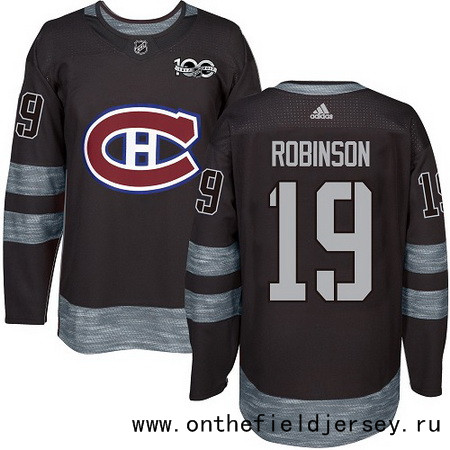Men's Montreal Canadiens #19 Larry Robinson Black 100th Anniversary Stitched NHL 2017 adidas Hockey Jersey