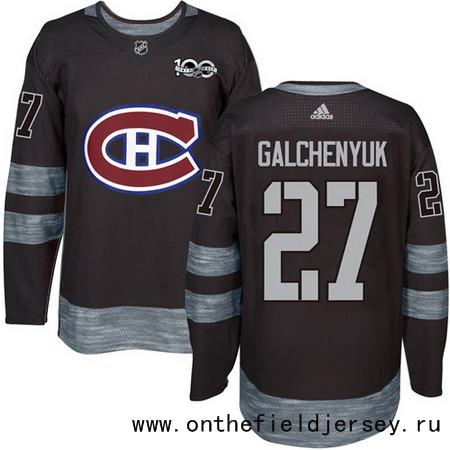 Men's Montreal Canadiens #27 Alex Galchenyuk Black 100th Anniversary Stitched NHL 2017 adidas Hockey Jersey