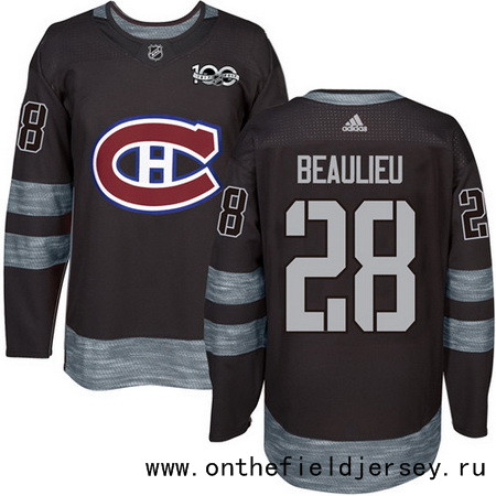 Men's Montreal Canadiens #28 Nathan Beaulieu Black 100th Anniversary Stitched NHL 2017 adidas Hockey Jersey