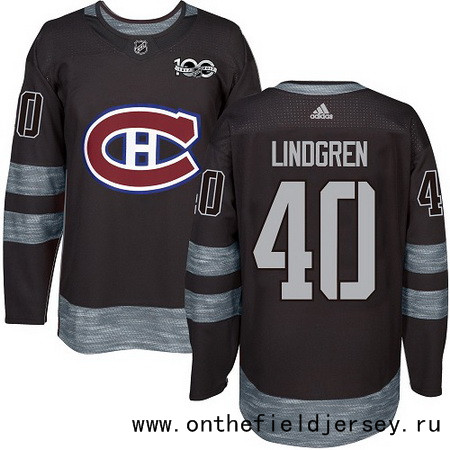 Men's Montreal Canadiens #40 Charlie Lindgren Black 100th Anniversary Stitched NHL 2017 adidas Hockey Jersey