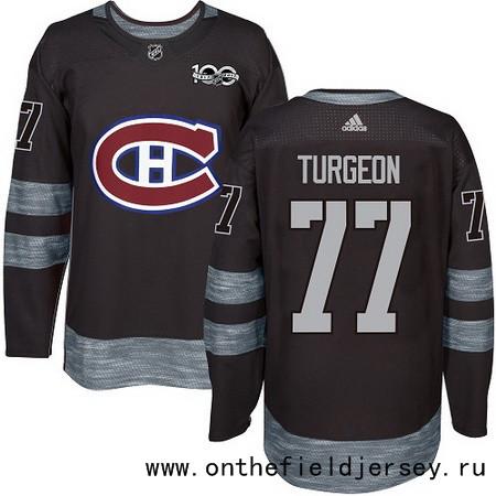 Men's Montreal Canadiens #77 Pierre Turgeon Black 100th Anniversary Stitched NHL 2017 adidas Hockey Jersey