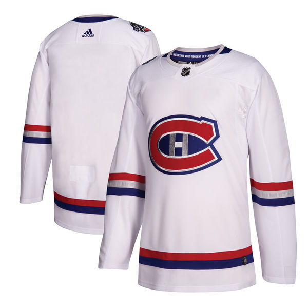 Men's Montreal Canadiens adidas White 2017 NHL 100 Classic Authentic Blank Jersey