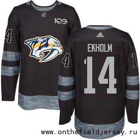 Men's Nashville Predators #14 Mattias Ekholm Black 100th Anniversary Stitched NHL 2017 adidas Hockey Jersey