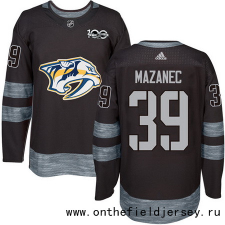 Men's Nashville Predators #39 Marek Mazanec Black 100th Anniversary Stitched NHL 2017 adidas Hockey Jersey