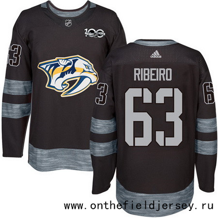 Men's Nashville Predators #63 Mike Ribeiro Black 100th Anniversary Stitched NHL 2017 adidas Hockey Jersey