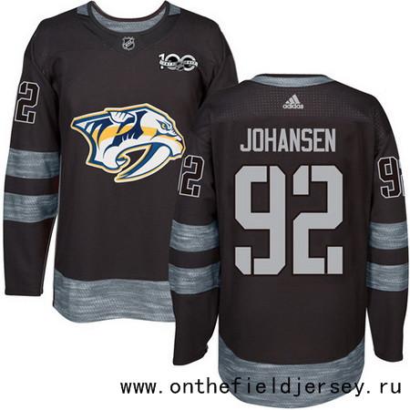Men's Nashville Predators #92 Ryan Johansen Black 100th Anniversary Stitched NHL 2017 adidas Hockey Jersey