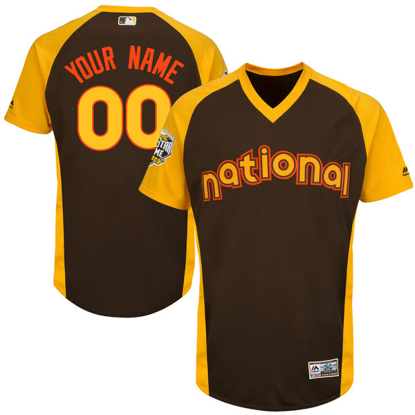 Youth National League Majestic Brown 2016 MLB All-Star Game Cool Base Custom Jersey