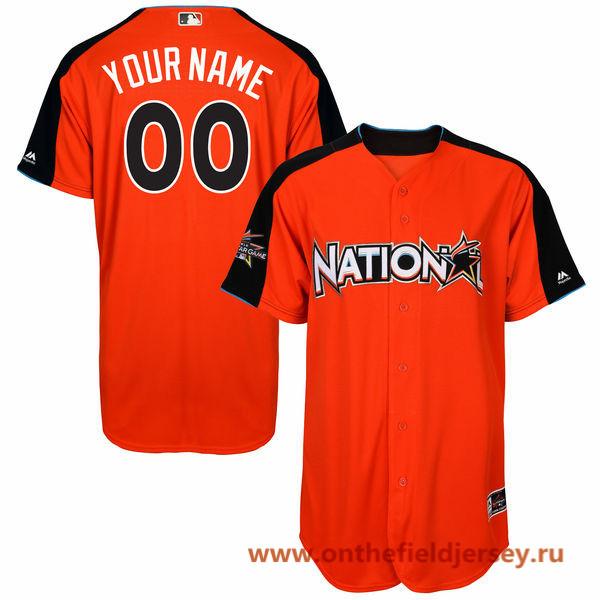 Men's National League Majestic Orange Custom 2017 MLB All-Star Game Baseball Jersey