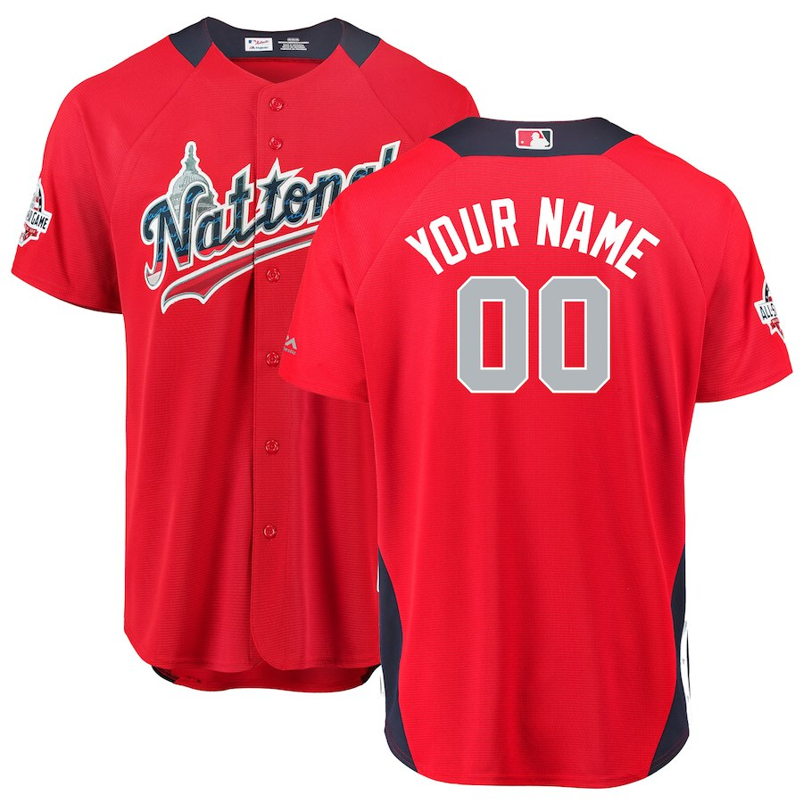 Men's National League Majestic Scarlet 2018 MLB All-Star Game Home Run Derby Custom Jersey