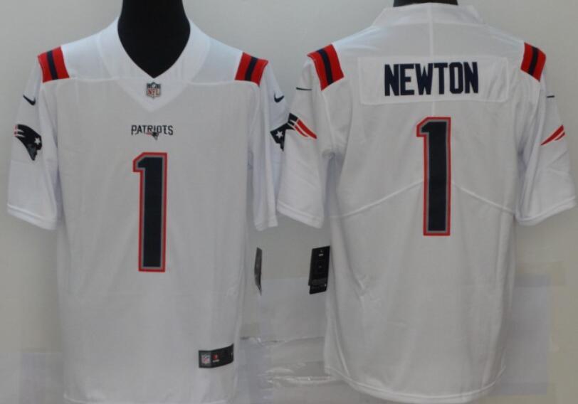 Men's New England Patriots #1 Cam Newton White 2020 NEW Vapor Untouchable Stitched NFL Nike Limited Jersey