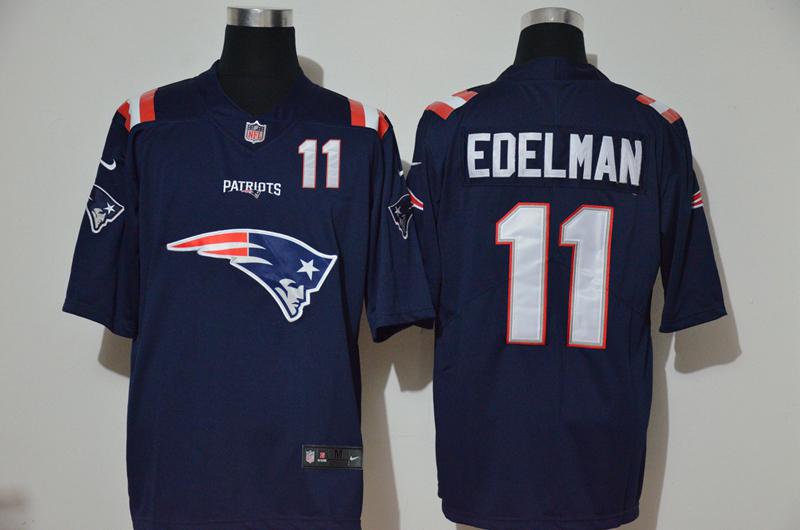 Men's New England Patriots #11 Julian Edelman Navy Blue 2020 Team Logo Number Vapor Untouchable Stitched NFL Nike Fashion Limited Jersey