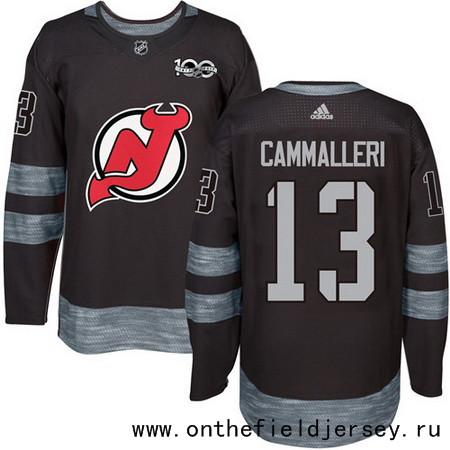 Men's New Jersey Devils #13 Mike Cammalleri Black 100th Anniversary Stitched NHL 2017 adidas Hockey Jersey
