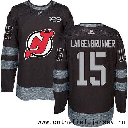 Men's New Jersey Devils #15 Jamie Langenbrunner Black 100th Anniversary Stitched NHL 2017 adidas Hockey Jersey